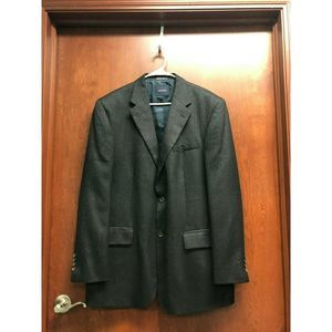 Nautica Men Charcoal Grey Blazer Herringbone 44L